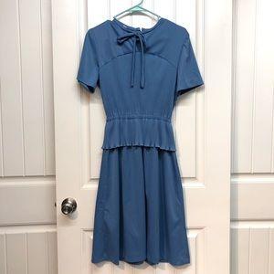 Vintage 70s blue peplum skirt dress, small